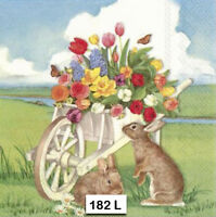 (182) TWO Individual Paper Luncheon Decoupage Napkins - FLOWERS SPRING BUNNY