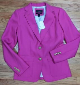 J.Crew Women's Size 2 Jacket Rhodes Pink Black C9131 100% wool Metal Buttons