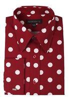 Men's Polka Dot Design Cotton Dress Shirt French Cuff #616 Burgundy