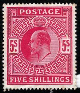 1902 KEVII SG263 5s Bright Carmine M51(1) HIgh Value MH Mint Hinged CV £450