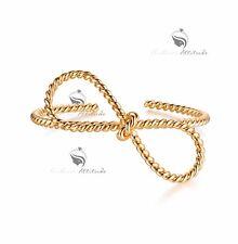 18k yellow gold gp twist rope wire bangle cuff bracelet bow fashion attitude