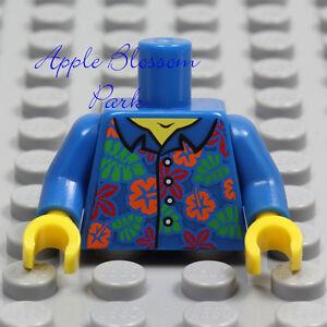 NEW Lego Minifig BLUE SHIRT TORSO - Boy Girl Hawaiian Flower Button Top Upper