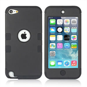 Black Shockproof Dual-Layer Matte Armor Soft Bumper Case Cover Fr iPod Touch 5 6