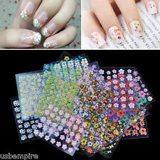 30 Sheet Mix 3D Nail Stickers Flowers Stick On Nail Art Decals Tips Manicure Lot