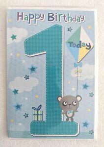 Age 1 Birthday Card - Blue Number Children Kids Baby Boy Boys 1st First