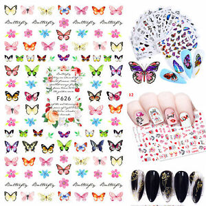 5PCS Nail Stickers Butterfly Flower Nail Art DIY Waterproof Nail Transfer Decal