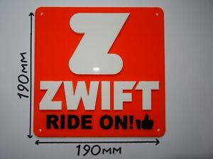 ZWIFT Sign - Turbo Trainer - Cycling - Running - Sign: 190x190mm