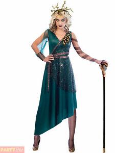 Ladies Medusa Costume Adults Greek Myth Goddess Halloween Fancy Dress Outfit