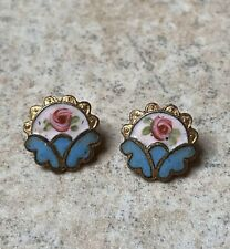 More details for antique buttons pair french cloisonné enamel 19th century napoleon iii 1800s old