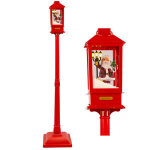 RED Snowing Musical Lantern on Lamp Post & LED Lights 156cm Christmas Decoration