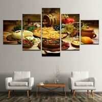 Pizza Wine Restaurant Foods 5 Pieces Canvas Wall Home Decor Poster Artwork
