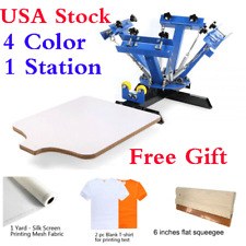 USA! 4 Color Silk Screen Printing Press Machine Screening Pressing with Station