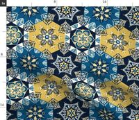 Spanish Tile Blue Yellow Navy Fabric Printed by Spoonflower BTY