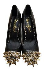 """Privileged Spiked Black & Snakeskin 5.5"""" Chunky Block Heel Shoes Size 8 Flaw"""