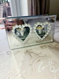 Twin Tealight Holder Glass Mirrored Diamante Silver Home Decor Candle Display