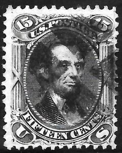 #77 VF USED 15¢ ABRAHAM LINCOLN with FANCY Cancel 1866  FRESH! (REM #77-81)