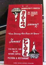 Rare Vintage Matchbook Cover G1 Bethesda Maryland Luigi's Pizzeria Pizza Candle