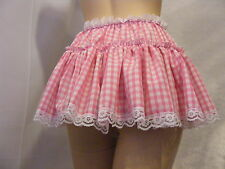 "SISSY ADULT BABY FANCYDRESS PINK GINGHAM MICRO MINI SKIRT 11""LONG ALL SIZES"