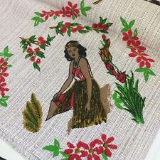 NEW ZEALAND Vintage Table CLOTH UNUSED Hawaiian GIRLS Floral Souvenir