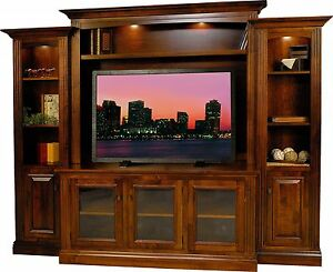 Amish Berlin TV Entertainment Center Solid Wood Media Wall Unit Cabinet Storage