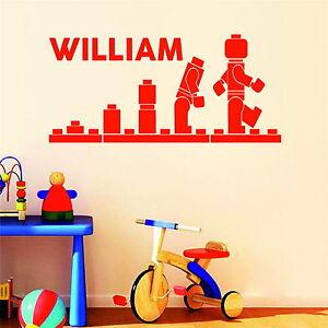 Lego Evolution Personalised Boys or Girls Name Decor Vinyl Wall Sticker Bedroom