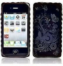 BLACK GEL BUTTERFLY CASE FOR APPLE IPHONE 4 4G 4S UK TPU WITH SCREEN PROTECTOR