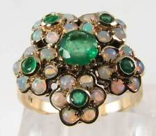 HUGE 9K 9CT GOLD VINTAGE NS EMERALD  OPAL 5 DAISY  CLUSTER RING FREE SIZE