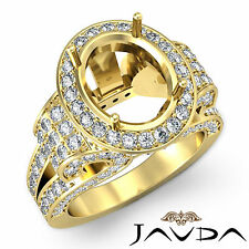 Vintage Oval Diamond Engagement Semi Mount Antique Ring 18k Yellow Gold 2.6Ct