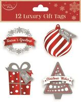 12 LUXURY GIFT TAGS CHRISTMAS BAUBLE XMAS GIFT WRAPPING PRESENT VARIOUS DESIGN