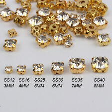 mix size 300pcs Clear Sew On Gold Claw Rhinestones Glass Crystal SewingStones