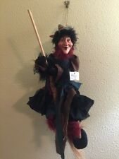 "Flying WITCH Broom Hanging 18"" Halloween Doll Decoration Mission Gallery NWT"