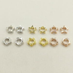 10pcs/lot Real Silver Gold Flower Bead Frame Can Through Beads Jewelry Findings