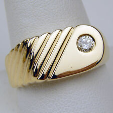 Gents Solitaire Diamond Ring 14 kt Yellow Gold Size 10 3/4 #A1054