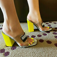 Cape Robbin CAMRYN Smoke Tinted Yellow Clear Transparent Faux Snake Mule