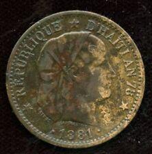 1881 Haiti 2 Centimes  Coin