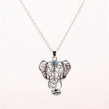 Women's Vintage Antique Silver Elephant pendant Chain Charm Necklace