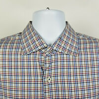 Peter Millar Blue Brown Houndstooth Check Plaid Mens Dress Button Shirt Size XL