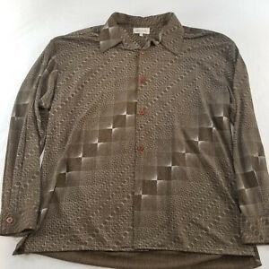 Vintage SMASH Men's XL Brown Geometric Long Sleeve Casual Style Club Shirt
