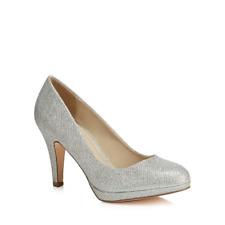 Debut SIlver Glitter Dobbie Stiletto Heel Court Shoes UK 6 EU 39 LN085 WW 03