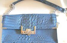 Marc Fisher Dark Blue Clutch Type Handbag  Partial Chain Strap Faux Alligator