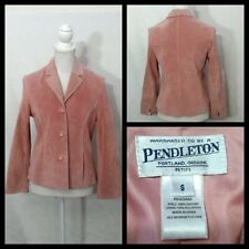 Pendleton Leather Suit Jacket Women'S S Petite Pink Button Up Collared Inv#Z1544