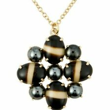 JOHN LEWIS Women PENDANT NECKLACE Long Chain Gold Tone BLACK CREAM Stone