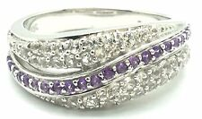 Cubic Zirconia Pave Band Cocktail Ring Sterling Silver 925 Purple Amethyst Wave
