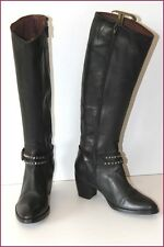 MURATTI Boots heels Black Leather Thong Studded T 37 VERY GOOD CONDITION