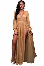 Abito lungo aperto nudo scollo Spacco Scollo Ballo Maxi Slit Open Party Dress S