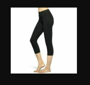 NWT HUE Women's Blackout Capri Tights w/ Hidden Pocket in Black, Choose Size