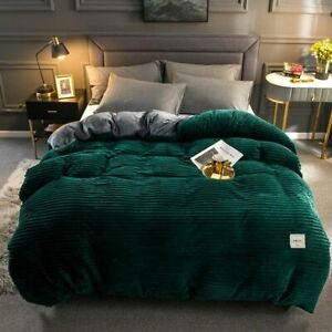 Winter Warm and Soft Flannel Bed Linen Solid Color Home Bedding Set Home