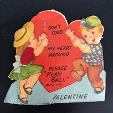 Valentines Card Vtg 1930s -40s Boy & Girl Knickers Hat Mary Jane Shoes Child