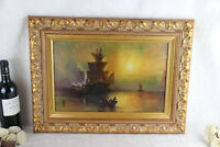 Gorgeous Flemish oil canvas 1933 Signed Painting Maritime Ship boats