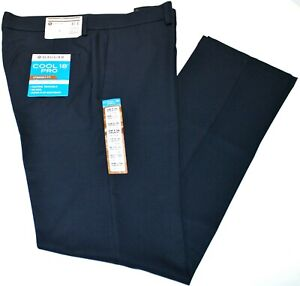Men's Haggar Straight Fit No Iron Cool 18 Pro Flat Front Navy Blue Pants